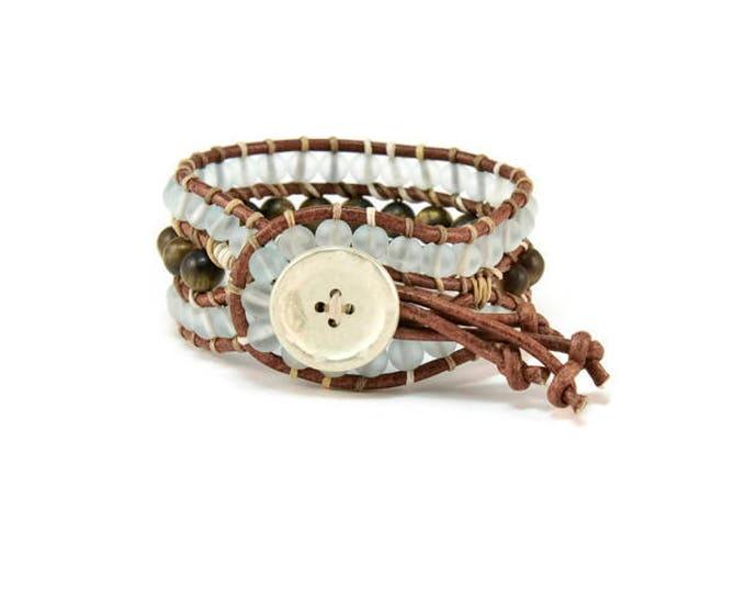 Boho Nefeli * Crystals & Tiger Eye. 3 strand Wrap Bracelet. Boho Style. Bohemian Jewelry. Semiprecious stones. Gift for her. Cuff Bracelet.