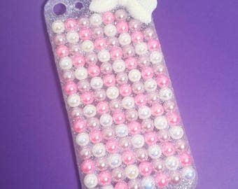 Iphone6 bow and pearls case kawaii decoden phone case bling glitter pink purple and white deco phone accessory
