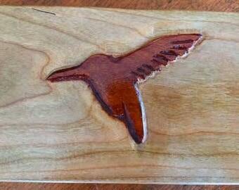 Custom handmade wooden box with hummingbird