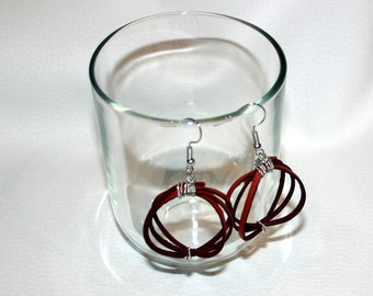 red leather half-spheric earrings original design gift for her