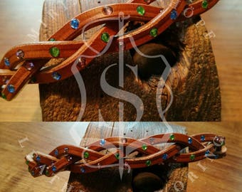 Braided dog collars leather dog collar leather collar Upcycling unique Dogcollar 48-56 cm