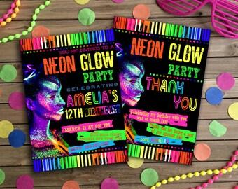 Glow Birthday Invitation, Glow Party Invitation, Glow Invitation, Neon Birthday Invitation, Neon Glow Invitation, Neon Thank You Card | NG_2