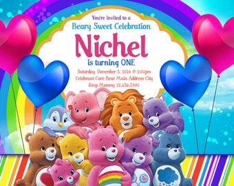 Care Bears Invitations, Care Bears Birthday Invitations, CareBears Invitation, Care Bears Party Invitation, Care Bears Birthday