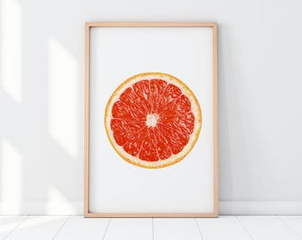 Grapefruit, Fruit Printable, Grapefruit Art, Kitchen Wall Art, Kitchen Decor, Fruit Wall Art, Grapefruit Print, Modern Instant Wall Art