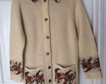 Retro Hippie 70s Boho Cardigan Sweater JCPenny Women's Small Hipster Chunky Knit Vintage Clothing 1970s
