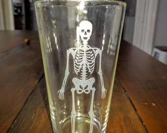 skeleton pint glass