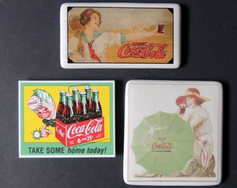 3 Vintage Coca-Cola magnets with one magnet -postcard collectible items
