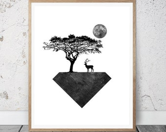Black and White Print, Geometric Wall Art, Minimalist Decor, Digital Print, Geometric Art, Abstract Poster, Art Prints, Printable Download