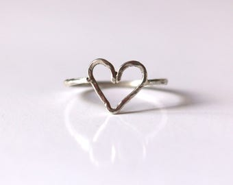 LOVE in hammered silver heart ring