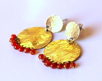 ANOUSHKA Golden and Red Cornelian Earrings