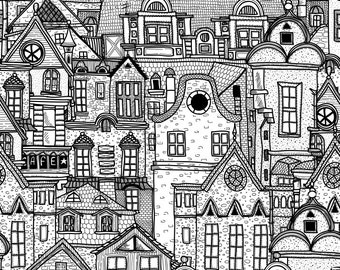 Houses Sketching Drawing Clip Art Digital Download PNG High Resolution V07