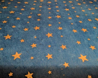 Gold Star Patterned Blue Nepalese Lokta Paper - 2 sheets