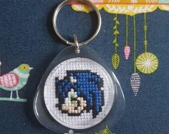 Sonic the Hedgehog/Tails cross stitch keyring