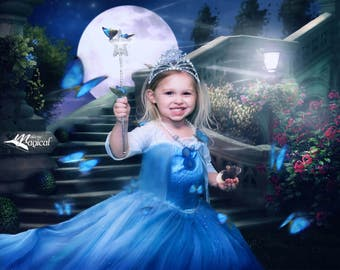 Cinderella backdrop | Moon backdrop | Digital Backdrop | Staircase Backdrop | Digital Garden Backdrop | Cinderella Background | Digital file