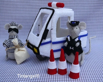 Police Car with Thief and police Mouse - PDF pattern - instand download