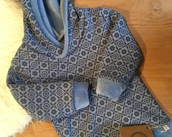 Hoodie pattern with blue 74/80 Hoody BabyKuschelsweat Alpenfleece