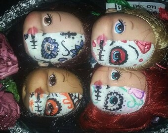 Hand painted doll head keychains