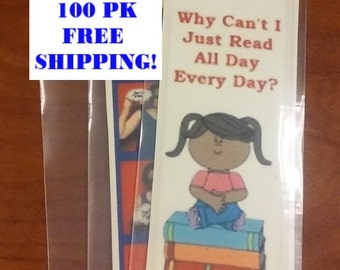 100 pk, Clear Polypropylene Hanging Bookmark Covers or Photo booth Sleeves