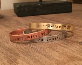 Custom Stamped Bracelet, Personalized Bracelet, Custom Message Jewelry, Customized Gifts