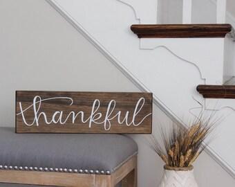 Thankful | Wood Sign | Thanksgiving | Home Decor | Fall Decor | Wall Decor | 18x5.5 | Little Lovely Nest