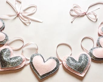 Pink and Glitter Felt Love Heart Baby Nursery Bunting Garland Sparkle Baby Girl Silver Grey Glitter Baby Shower Gift