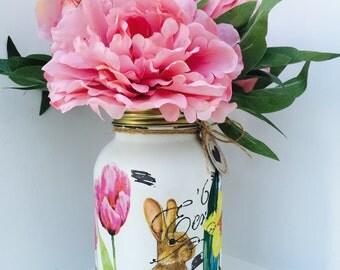 Handmade Spring Rabbit Mason Jar