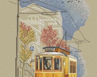 "Cross stitch pattern ""Old tram"""