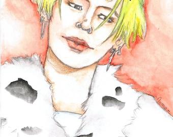 watercolor, portrait, G-Dragon, kpop.