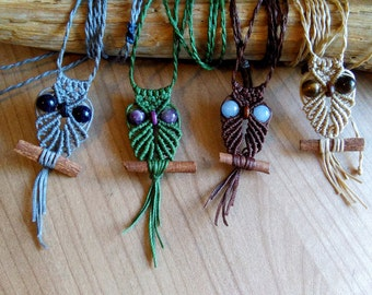 Owl Macrame Necklace, Macrame Necklace, Hippie Necklace, Macrame Jewelry, Boho Necklace, Owl Necklace, Owl Jewelry