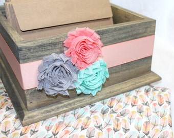 Baby Shower Card Box / Barnwood Box / Coral and Mint Baby Shower / Feathers / Boho Baby Shower / Dream Catcher / Card Box for Baby Shower