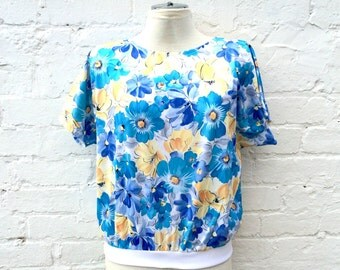 80s batwing top, floral retro pullover