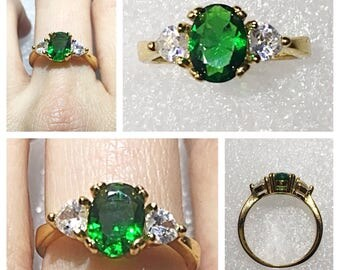 Emerald CZ Gold Plated Ring