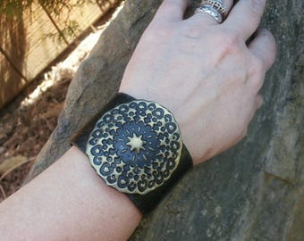 Polymer Clay Cuff Bracelet, Wide Cuff, Faux Leather Bracelet, OOAK Jewelry