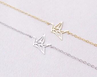 SALE! Bracelet gold plated 18K animal origami bird Birdy cute woman trendy jewelry