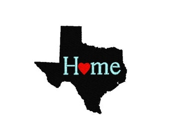 Texas Embroidery Design, Texas Home Embroidery Design, I love Texas pattern, Texas Machine Embroidery, travel machine embroidery design