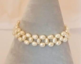 Cultured Freshwater Stretchy Pearl Bracelet Handmade