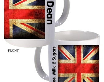 Fun Novelty Vintage English Flag Personalised Mug Great Gift Idea d2