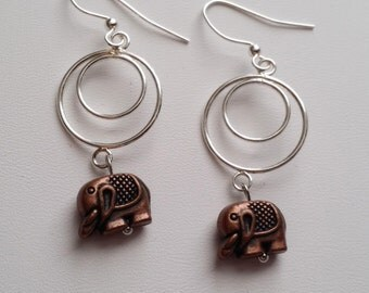 Copper Elephant Charm Earrings  (E14-128)