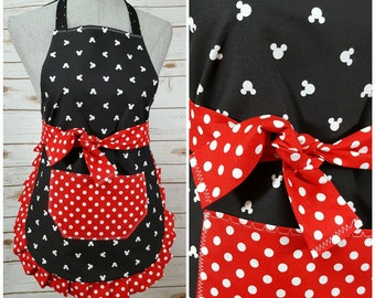 Youth apron | Child Apron | White Mickey Mouse on Black with Red polka Dot Waist Bow Tie, Ruffle Bottom