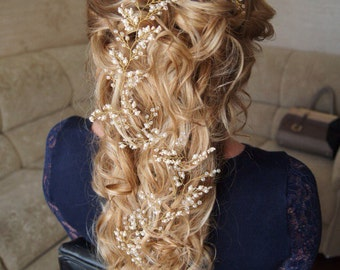 Bridal headpiece Wedding headpiece Hair vine Wedding hair vine Pearl headpiece Headpiece Rose hair vine