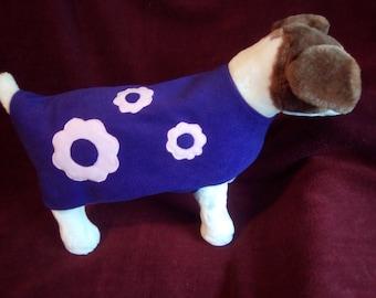 Handmade dog coat in soft fleece with applique.