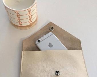 Cream Leather Pouch/Purse