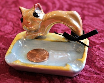 Lusterware Trinket Tray with Cat Figurine