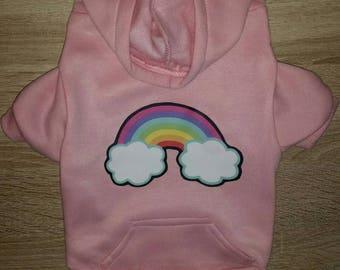 Rainbow Dog Hoodie - Pink - Dog Clothing - Cute Dog Sweater - Pink Sweater - Dog Clothing - Dog Fashion -