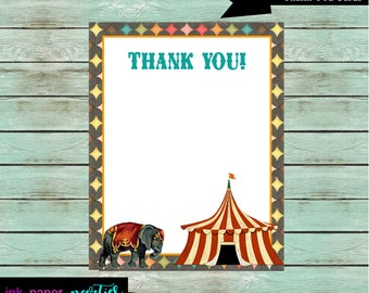 Vintage Circus Tent Carnvial Elephant Birthday Thank You Note Cards - DIY - Digital File - Instant Download