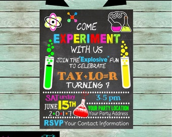 Science Scientist Chemistry Mad Science Experiment Birthday Party Invitations Invites ~ We Print and Mail to You