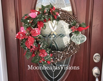 Grapevine wreath, pointsettia wreath, Grapevine snowy pointsettia wreath, christmas wreath, happy holidays wreath, outdoor wreath