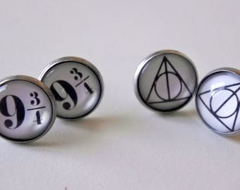 Harry Potter Deathly Hallows and binary 9 3/4 earrings