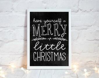 Chalkboard Christmas Sign, Christmas Chalkboard Print, Printable Christmas Decoration,  Festive Home Decor, Rustic Christmas Decor, Xmas Art
