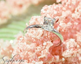 Emerald Cut Solitaire Engagement Ring in 14k White Gold, Emerald Cut Wedding Ring, Gold Solitaire Promise Ring by Sapheena